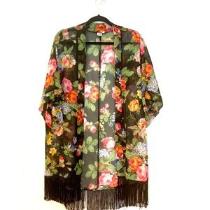 Cover Up. Floral with Fringe. OS